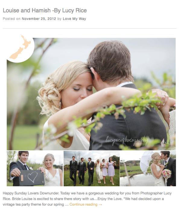 Featured Wedding on LOVE MY WAY