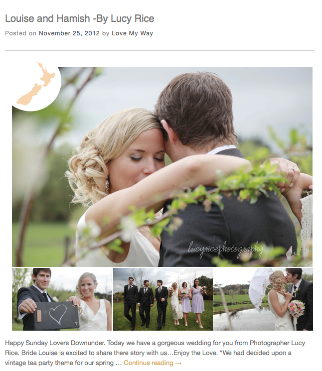 Featured Wedding on LOVE MY WAY