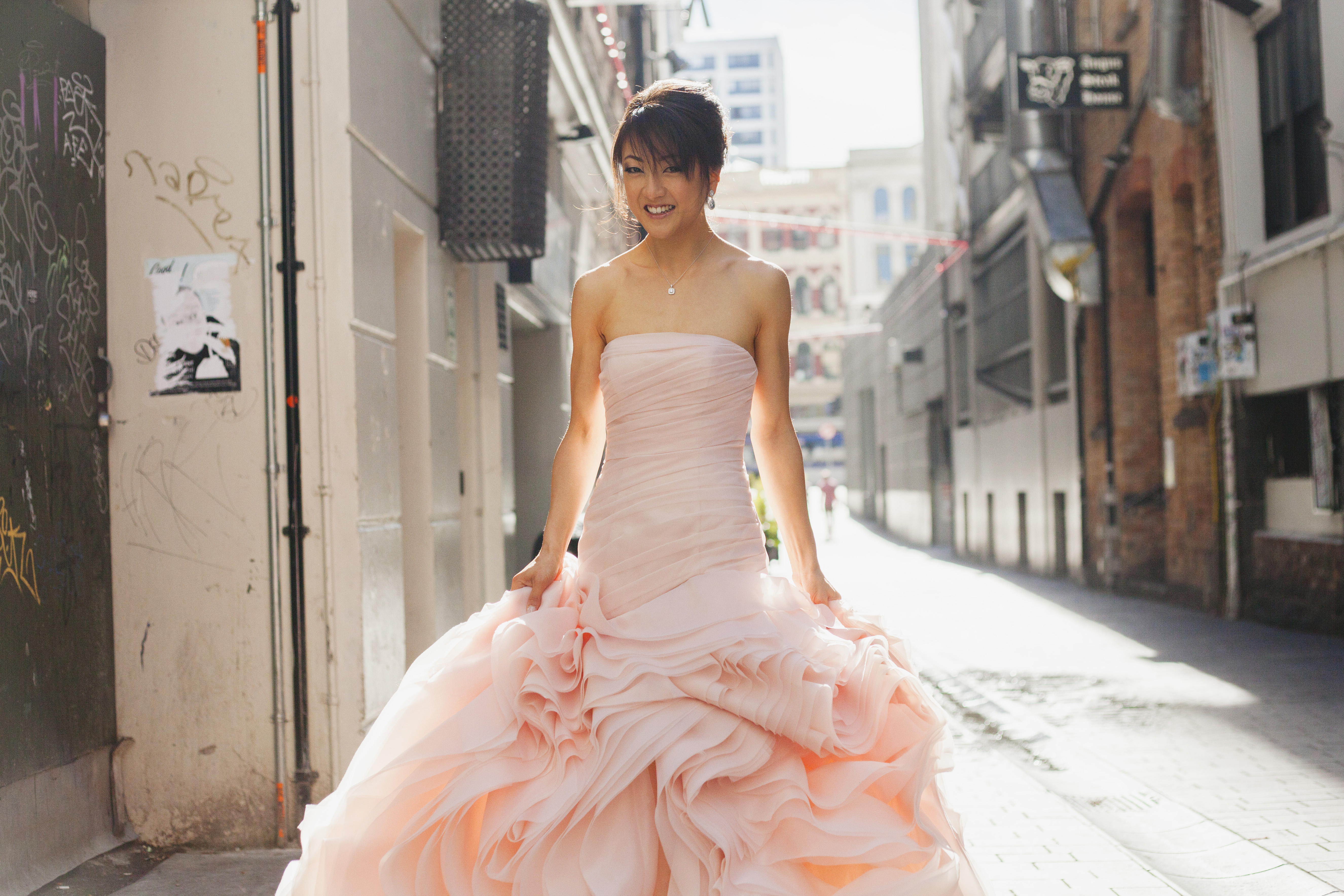 pink vera wang wedding dress | Lucy Rice Photography